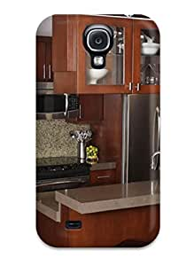 CHvXDVM10738QoNTk Tpu Phone Case With Fashionable Look For Galaxy S4 - Contemporary Kitchen With Hardwood Cabinets Wine Fridge Amp Tile Backsplash by supermalls
