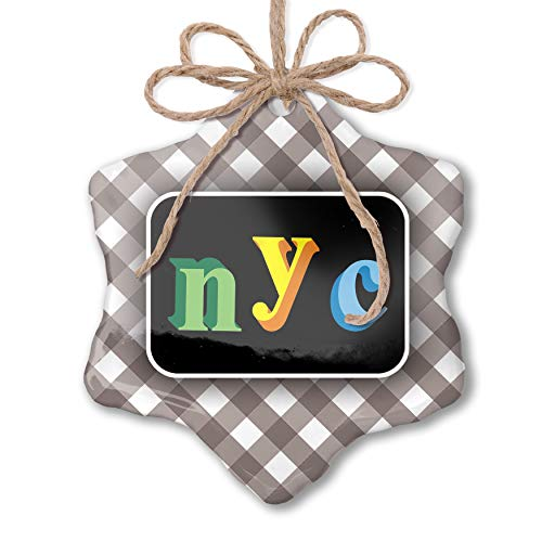 Nyc Black Letters - NEONBLOND Christmas Ornament NYC Colorful Letters Grey White Black Plaid