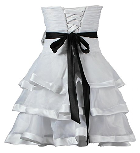 ANTS Women's Strapless Short Wedding Dress with Feathers Black Sashes Size 8 US White ()