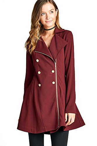 Junior Sizes Classic Single, Double Breasted Trench Coat/Peacoat (Small, TC01 Burgundy) -