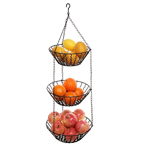 - 3 Tier Kitchen Ceiling Hanging Black Metal Fruit Basket Rack/Produce Holder