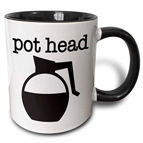 3dRose 254636_4 Pot Head Black Ceramic Mug, 11 oz, White