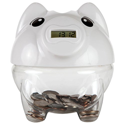 Digital Coin Bank - Lily's Home SW448 Digital Piggy Coin Counting Bank, 5 1/2 x 6 1/4 x 6-Inch, White