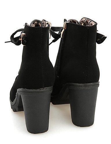Zapatos Yellow Cn39 Semicuero Comfort Vestido Mujer Negro Eu39 Botines us8 Casual Xzz Robusto Uk6 Tacón Amarillo Bermellón Botas De gqdv6wC