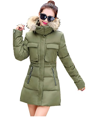 cheap Women's Winter Thicken Mid-length Faux-fur Hooded Cotton