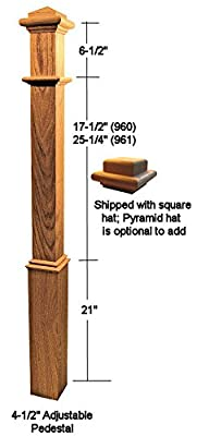 "Ascension Stair Parts 960 48"" Red Oak Box Newel Post"