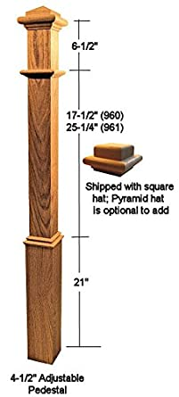 Ascension Stair Parts 960 48u0026quot; Red Oak Box Newel Post