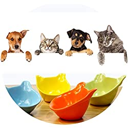 ZZmeet Ceramic Pet Food Bowl Cat Ears Shaping Bowls Cat Small Dog Teddy Bear Water Container Pet Feeding Accessories,Yellow,S