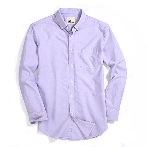 Mens Dress Shirts Oxford Long Sleeve Washed Casual Button Down Shirt (Purple,XXLarge) (Dress Shirt Fit Pinpoint)