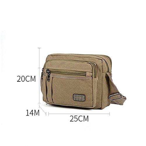 Khaki bolsa Diagonal 25cmx14cmx20cm al lienzo desgaste exterior transpirable bolso hombro resistente retro lienzo Penao Hombres 1Oqwxp6BSg
