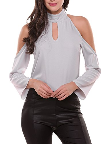 Zeagoo Women Sexy Cold Shoulder Long Sleeve Chiffon Choker Blouse Top 41nZ0tr1vOL
