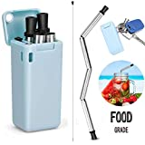 Alink Folding Stainless Steel Drinking Straw | Reusable, Collapsible and Eco-Friendly TPE/Food Grade Silicone Straws | Portable with Hard Case & Cleaning Brush Perfect Gift(Blue)