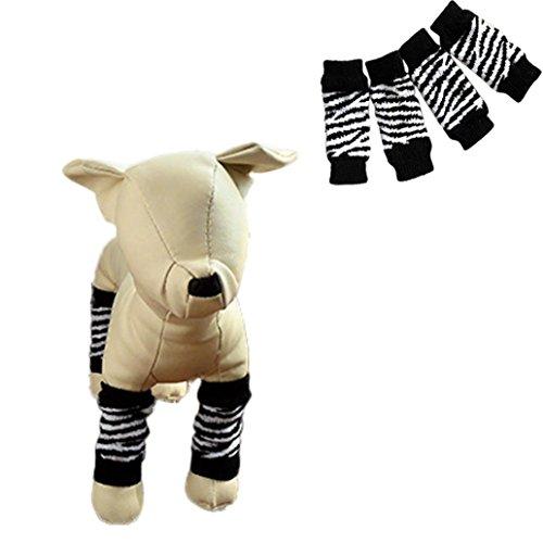 [Sagton Cute Warm Socks Pet Dog Leg Socks Zebra-stripe Non-slip Pet Dog Leg Warmers (S)] (Zebra Cat Costume)