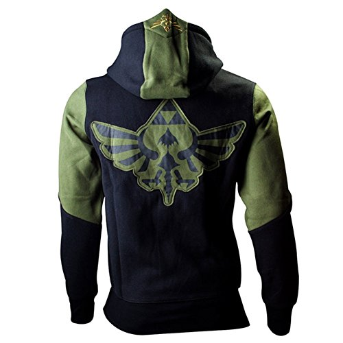 Official Zelda Hoody Hoodie Green Zip up Patch Logo Emblem - Mens ()