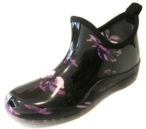 (sh18es Shoes8teen Womens Short Rain Boots Prints & Solids 1118 Purple Flower 7)