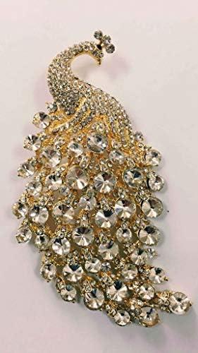SZKP 女性のブローチ、女性カラフルなピーコックハイグレードコサージュ、レディースオイルドロップダイヤモンドファッションアクセサリーピン11 * 5.4CM (Color : Yellow)