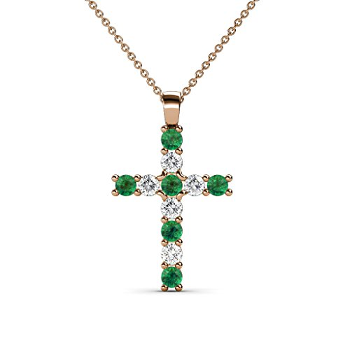 Petite Emerald and Diamond (SI2-I1, G-H) Cross Pendant 0.32 cttw in 14K Rose Gold with 14K Gold Chain by TriJewels