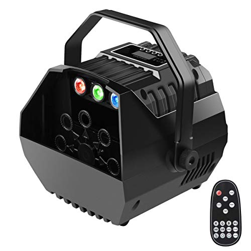 Yugee 2019 New Bubble Machine Automatic Bubble Powered by Plug-in or Batteries Outdoor/Indoor Use]()