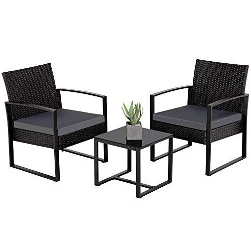 Yaheetech 3 Pieces Patio Furniture Sets Indoor Outdoor Wicker Modern Bistro Set Rattan Chair Conversation Sets Gray Cushion with Coffee Table (Furniture Dining Balcony)