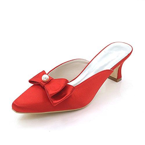 Zapatos Grueso Baile 5 cm Boda 5 Honor Fiesta Mujer Baile rojo o bajo Medio de Ager Dama Noche Satén Flower para Tacón Clásicos de para xHTq1Og