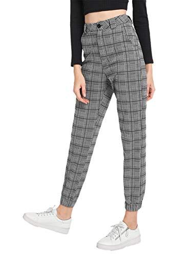 Womens Plaid Pants - Milumia Women's Casual Mid Waist Plaid Button Pants Grey Small