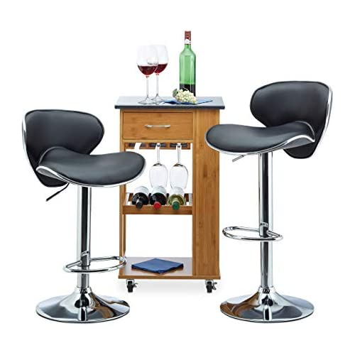 chollos oferta descuentos barato Relaxdays Taburete Alto Cocina Regulable Metal Piel Sintética Negro 100 x 46 x 50 cm 2 Unidades Acero