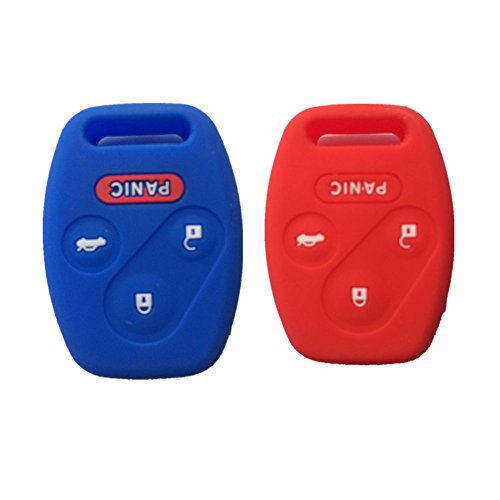 Blue and Red Silicone Rubber Keyless Entry Remote Key Fob Case Skin Cover Protector for Honda 3+1 Buttons