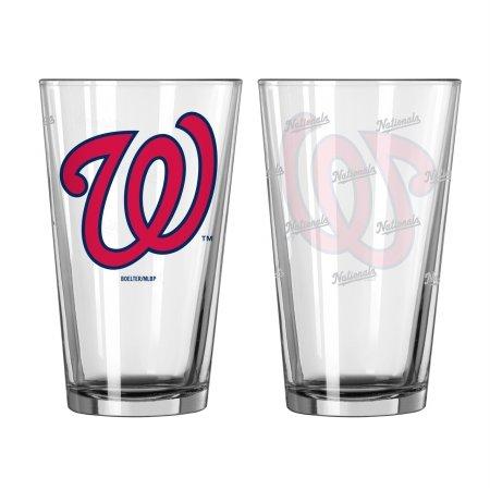Boelter Brands MLB Washington Nationals Pint GlassSatin Etch 2 Pack, Clear, One Size