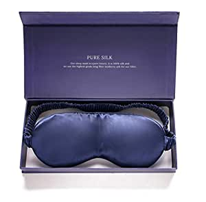 Ivy's Selection High-end Silk Sleep Mask 100% Mulberry Silk - Luxuriously Padded Silk Eye Mask for Deeper, More Restful Sleep (Blue)