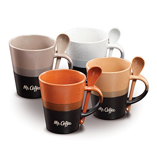 Two Toned Ceramic Mug (Coffee Cup set by Mr. Coffee Mono Tone Coffee Mugs Set with Spoons Stoneware 14 oz coffee cups  Assorted Designs, 8 pcs set, Cafe Greco)