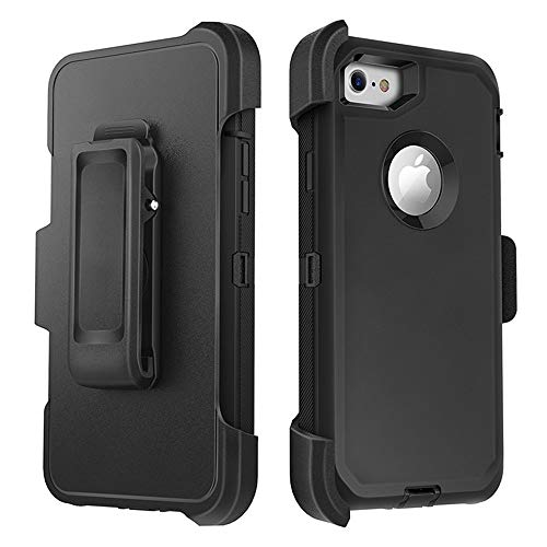(for iPhone 7 Case iPhone 8 Case Full Protective Anti-Scratch Resistant Cover case for Apple iPhone 7 & iPhone 8 with Holster Belt Clip Stand Cover and Built-in Screen Protector (Black))