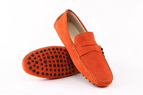 confortevole casual caldo in pelle barca Arancione mocassino da arancione scamosciata uomo Minitoo WOfnx