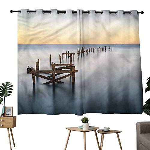 (Brandosn Blackout/Room Darkening Curtains Grommets Curtain Doorway Coastal,Old Ruined Wooden Pier Sea Curtains/Panels/Drapes W63 x L45)