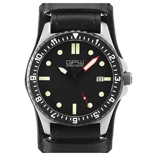 German Military Titanium Automatic Watch. GPW Date. 200M W/R. Sapphire Crystal. German Bund Leatherstrap (German Watches For Women)