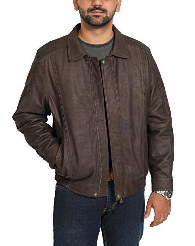 Homme Cuir Véritable Blouson Style Classique Jim Marron Nubuck
