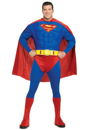 [Muscle Chest Superman Plus Size Costume] (Plus Size Deluxe Superman Costumes)