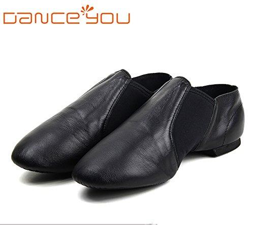 DANCE YOU DANCEYOU 1302 Neopren Elastische Slip-On Leder Ober Jazz Schuhe Schwarz Für Kleinkinder / Frauen / Männer