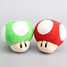 Super Mario Bros Mushrooms Green & Red Plush Stuffed Animals Doll Kids Toys 2pcs/set