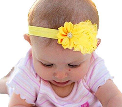 Strass Fascia Flower 1Pc Girl Baby Elastic gialla Akaayuko qYStand
