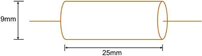 sourcing map Condensador De Pel/ícula Redonda 1.0Uf 100V DC Axiales Condensadores De Pel/ícula De Poli/éster Amarillo Divisor De Audio