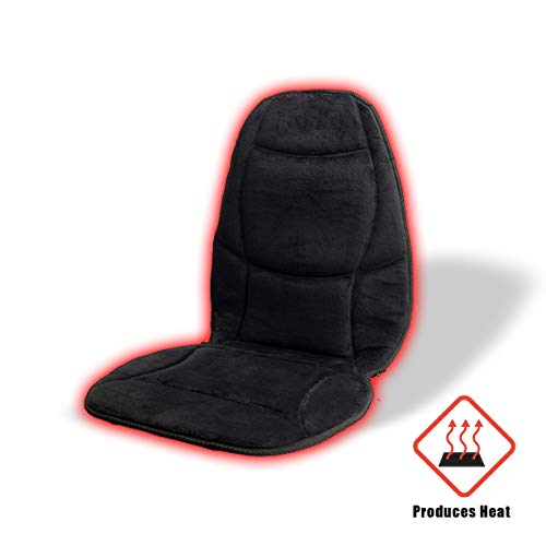 VaygWay 12V Car Heated Cushion- Velour Plush Auto Seat Cover- Plush Velvet Pain Relief Pad- Seat Warmer Cold Weather Driving