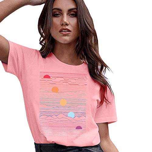 (Graphic t Shirt for Women,SMALLE◕‿◕ Women Abstract Sunset Printed Tee Plus Size Short Sleeve Blouse Tops Pink)