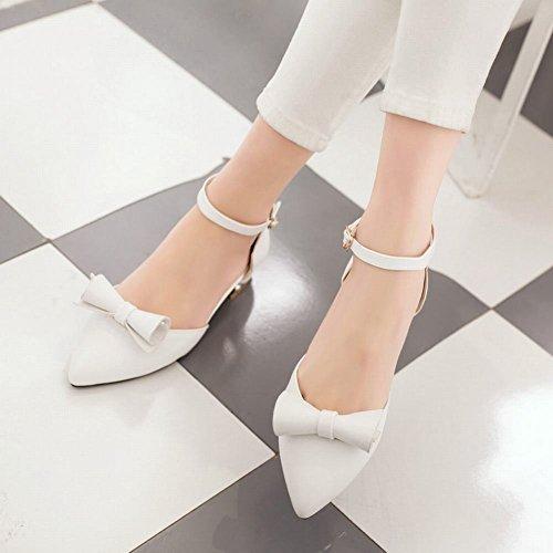 Mee Shoes Damen Niedrig Ankle Strap Strass Sandalen Weiß