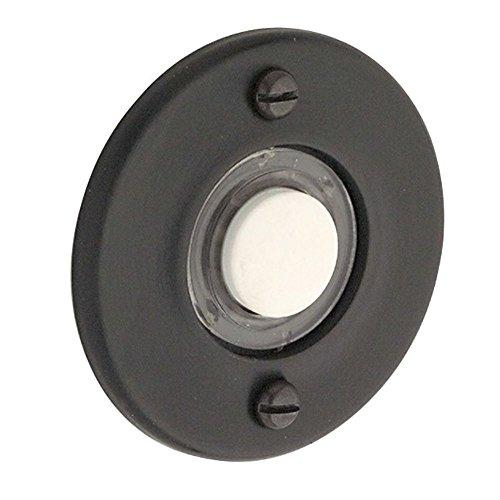 Baldwin 4851190 Round Bell Button, Black - 1.75
