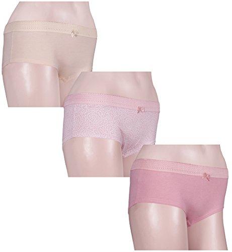 Señoras Bragas 3pc Set impreso y sólido super suave y cómodo para las mujeres. Pretty Mum, Khaki & Pink