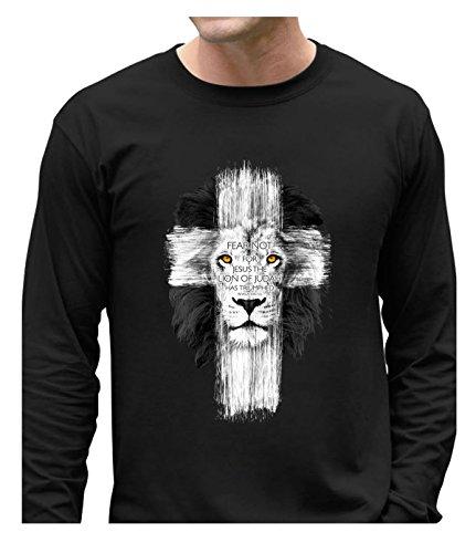 Fatal Decision Men's Geek shirts Lion of Judah Cross black (Jersey Shore Outfits)