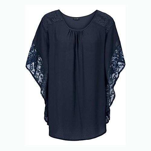 Blusa De Manga Corta Escote Redondo Camisa De Las Mujeres Camisetas Blusas Azul marino