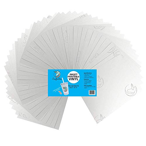 Craftables Waterproof Inkjet Sticker Paper - 50 Sheets Printable Vinyl - Inkjet (Matte White)
