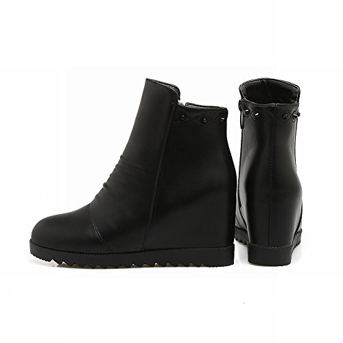 Carolbar Zip Heighten Black Inside Short Rivets Boots Chic Stylish Women's 77wrR