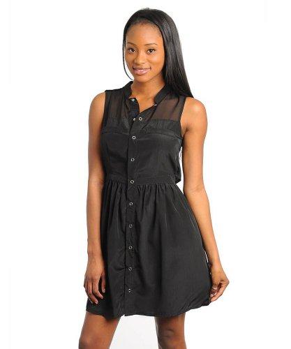 Stanzino Women's Sleeveless Shirt Dress with Sheer Inset black M